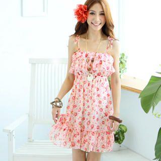 Tokyo Fashion - Sleeveless Floral Ruffle Chiffon Dress