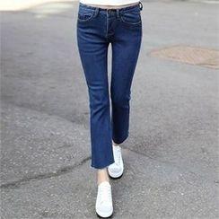 CHICFOX - Fray-Hem Boot-Cut Jeans