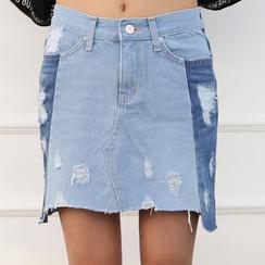 DANI LOVE - Distressed Two-Tone Denim Mini Skirt
