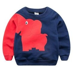 DEARIE - Kids Elephant Applique Color Block Pullover