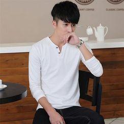 SOLER - Split-neck Long-Sleeve Sweatshirt
