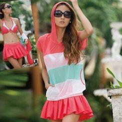 Rachel Swimwear - Set: Contrast-Color Hoodie + Bikini