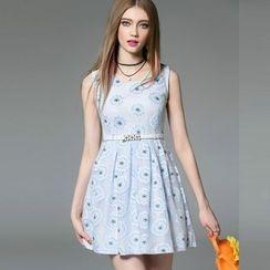 洛圖 - 無袖印花連衣裙