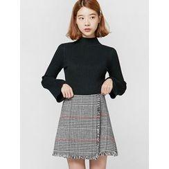 FROMBEGINNING - Fringed Glen-Plaid Mini Skirt