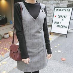 mimi&didi - Herringbone Wool Blend Jumper Dress