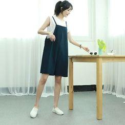 Dodostyle - Linen Blend Sleeveless Jumper Dress