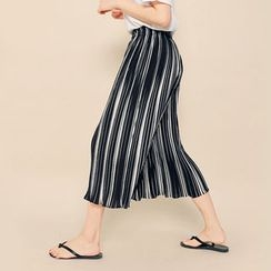 HOTPING - Band-Waist Striped Wide-Leg Pants