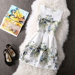 Rainbeam - Sleeveless Printed Pleated Dress