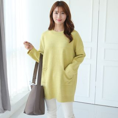 CLICK - Pocket-Front Long Knit Top