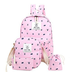 Sweet City - Set of 4: Print Backpack + Shoulder Bag + Zip Pouch + Drawstring Pouch