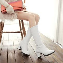 Pretty in Boots - Chunky Heel Tall Boots