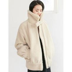 FROMBEGINNING - Funnel-Neck Sherpa-Fleece Zip Jacket