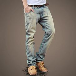 Mannmix - Straight-Cut Washed Jeans