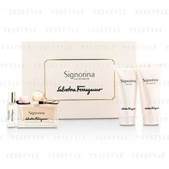 Salvatore Ferragamo - Signorina Coffret: Eau De Parfum Spray 100ml/3.4oz + Body Lotion 100ml/3.4oz + Bath and Shower Gel 100ml/3.4oz + Roll On 7ml/0.24oz