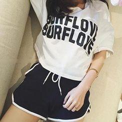 Honeydew - Sport Set: Lettering T-Shirt + Drawstring Sweat Shorts
