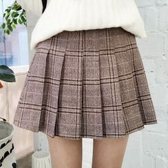 YUKISHU - Plaid Pleated Mini Skirt
