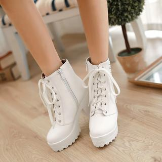 Shoes Galore - Studded Lace-Up Heeled Short Boots