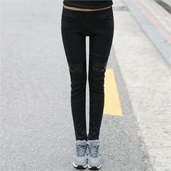 CHICFOX - Zip Appliqué Fleece-Lined Leggings Pants