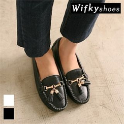 Wifky - Tasseled Metal-Trim Genuine-Leather Loafers