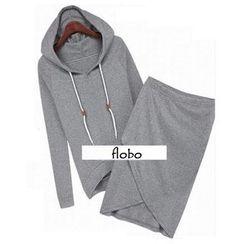 Flobo - Set: Drawstring Hooded Pullover + Wrapped Skirt