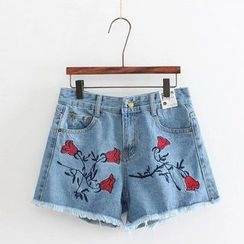 Aigan - Embroidery Denim Shorts