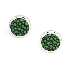 MBLife.com - 925 Sterling Silver Green Shagreen Bezel Setting Round Stud Earrings