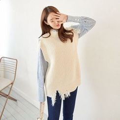 Seoul Fashion - Distressed Ribbed Knit Top