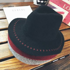 FROME - Embroidered Wool Blend Fedora Hat