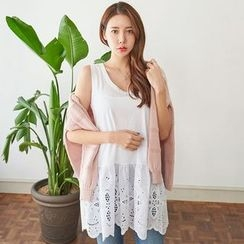 Seoul Fashion - Lace-Trim Cotton Tank Top