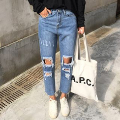 MATO - Distressed Washed Straight Leg Jeans