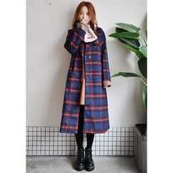 GOROKE - Shawl-Collar Double-Breasted Plaid Long Coat