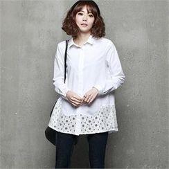 HALUMAYBE - Floral-Pattern Hem Shirt
