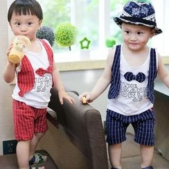 POMME - Kids Set: Mock Two Piece Tank Top + Window Pane Pants