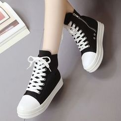 Shoeland - High Top Lace Up Sneakers