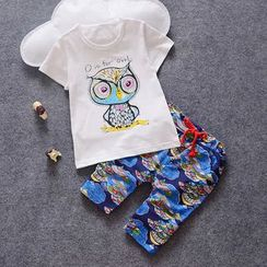 POMME - Kids Set: Owl Print Short Sleeve T-Shirt + Drawstring Pants