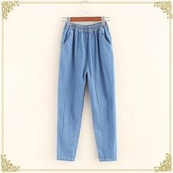 Fairyland - Elastic Waist Washed Panel Jeans