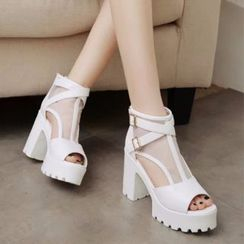 Wello - Mesh Panel Chunky Heel Platform Sandals
