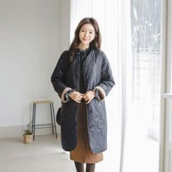 JUSTONE - V-Neck Button-Down Quilted Coat