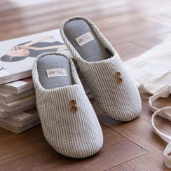 iswas - Buttoned Striped Slippers