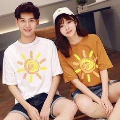 Azure - Couple Matching Print Short-Sleeve T-shirt