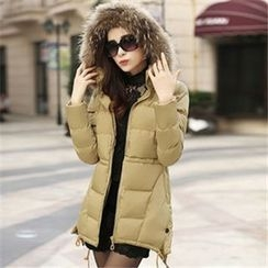 AiSun - Faux Fur Hooded A Line Coat