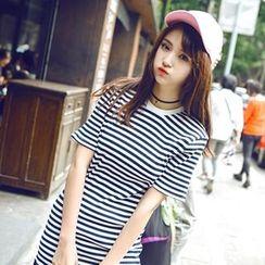 Wimi girls - Pleated Hem Striped Short Sleeve T-Shirt Dress