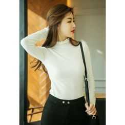 REDOPIN - Frilled-Trim Turtle-Neck Top