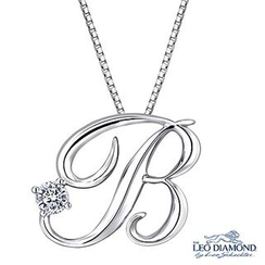 Leo Diamond - Initial Love 18K White Gold Diamond Pendant Necklace (16') - 'B'