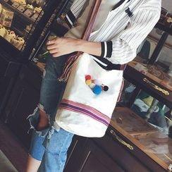 Seok - Canvas Crossbody Bag with Pom Pom Brooch