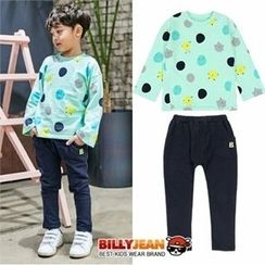BILLY JEAN - Kids Set: Polka Dot Top + Banded-Waist Pants