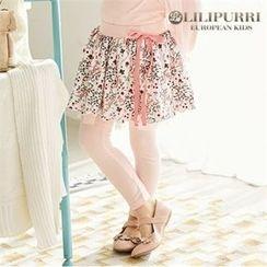 LILIPURRI - Girls Inset Floral Pattern Skirt Leggings