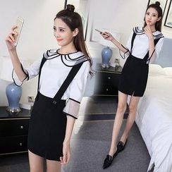 Rosehedge - Set: Contrast Trim 3/4 Sleeve Blouse + Suspender Skirt