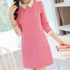 YUMU - Long-Sleeve Check Sheath Dress
