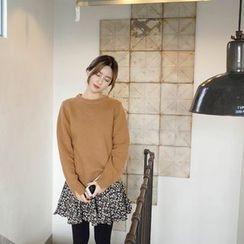 mimi&didi - Band-Waist Flower Patterned Mini Skirt